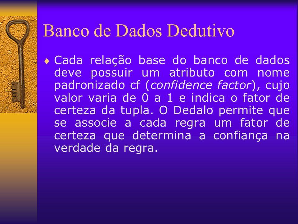 Banco de Dados Dedutivo Cada relação base do banco de dados deve possuir um atributo com nome padronizado cf (confidence factor), cujo valor varia de