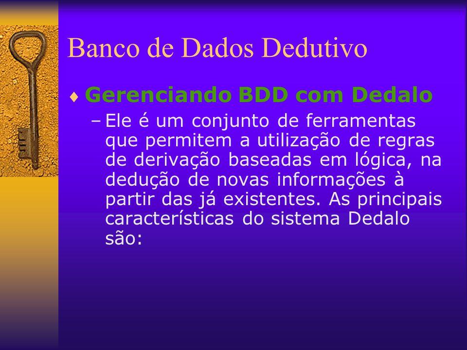 Banco de Dados Dedutivo Gerenciando BDD com Dedalo –Ele é um conjunto de ferramentas que permitem a utilização de regras de derivação baseadas em lógi