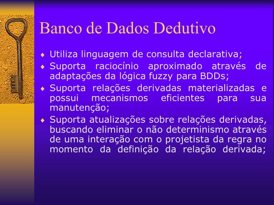 Banco de Dados Dedutivo Utiliza linguagem de consulta declarativa; Suporta raciocínio aproximado através de adaptações da lógica fuzzy para BDDs; Supo