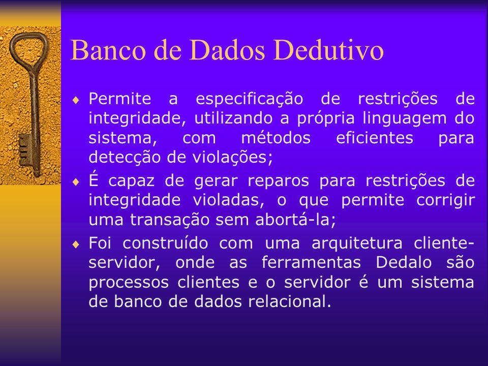 Banco de Dados Dedutivo Permite a especificação de restrições de integridade, utilizando a própria linguagem do sistema, com métodos eficientes para d
