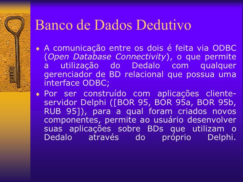 Banco de Dados Dedutivo A comunicação entre os dois é feita via ODBC (Open Database Connectivity), o que permite a utilização do Dedalo com qualquer g