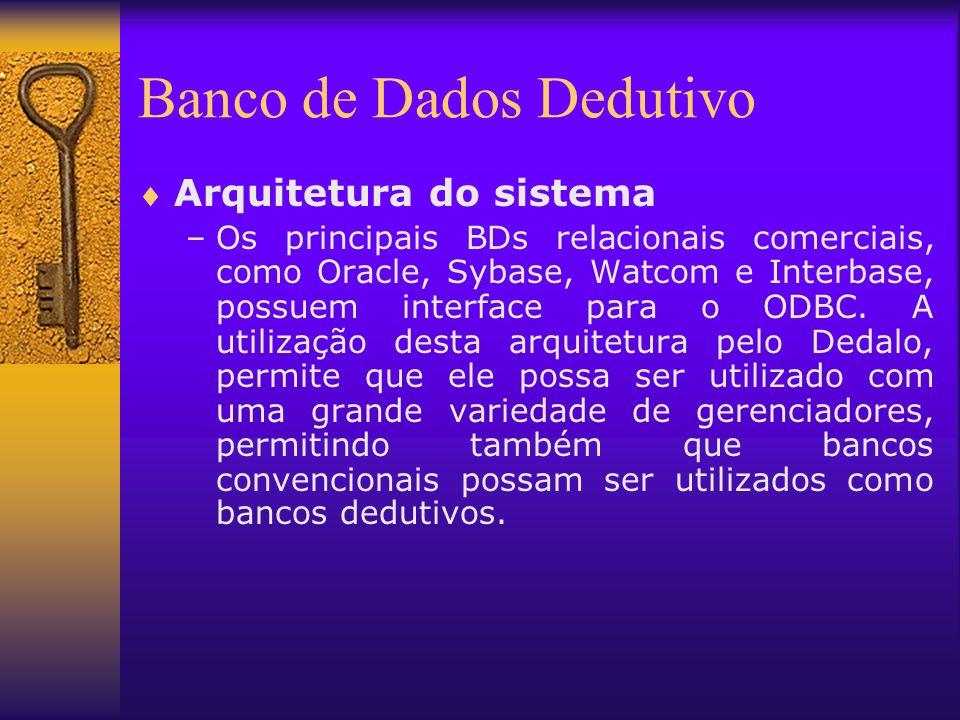Banco de Dados Dedutivo Arquitetura do sistema –Os principais BDs relacionais comerciais, como Oracle, Sybase, Watcom e Interbase, possuem interface p