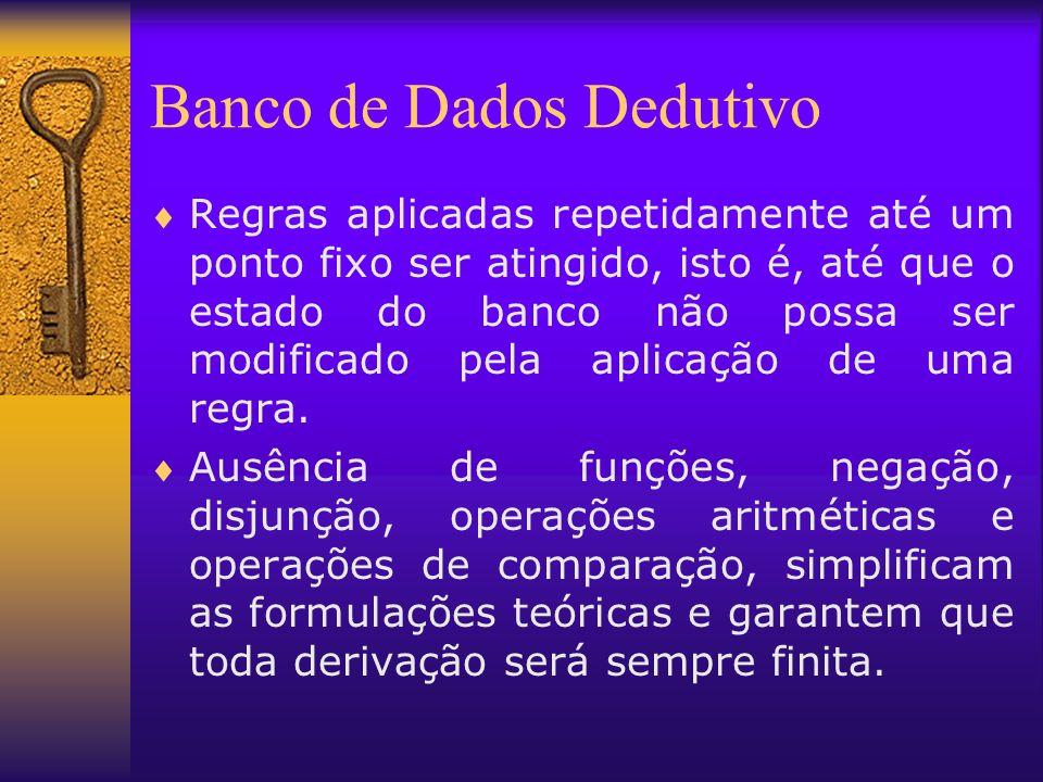 Banco de Dados Dedutivo Regras aplicadas repetidamente até um ponto fixo ser atingido, isto é, até que o estado do banco não possa ser modificado pela