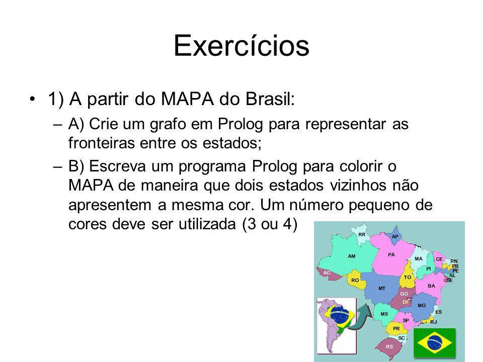 Exercícios 1) A partir do MAPA do Brasil: –A) Crie um grafo em Prolog para representar as fronteiras entre os estados; –B) Escreva um programa Prolog