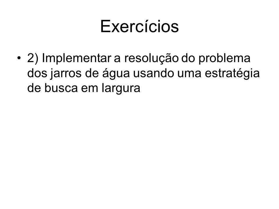 Exercícios 2) Implementar a resolução do problema dos jarros de água usando uma estratégia de busca em largura