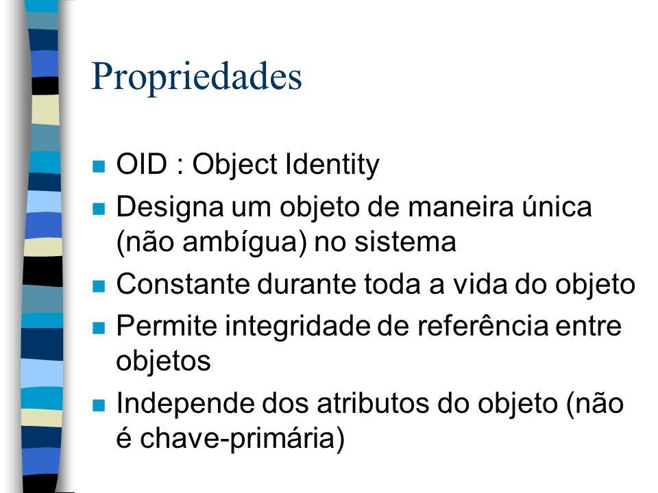 Propriedades n OID : Object Identity n Designa um objeto de maneira única (não ambígua) no sistema n Constante durante toda a vida do objeto n Permite integridade de referência entre objetos n Independe dos atributos do objeto (não é chave-primária)