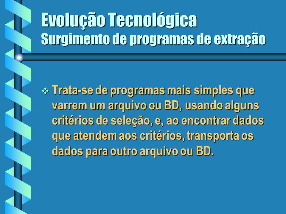Evolução Tecnológica 1980 PCs, tecnologia L4G Processamento de transações MIS/SAD O paradigma de um único BD para todos os fins