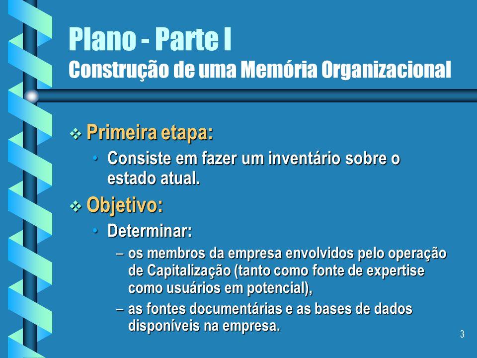 2 Plano - Parte I Construção de uma Memória Organizacional Assunto: Assunto: A construção de uma memória organizacional.