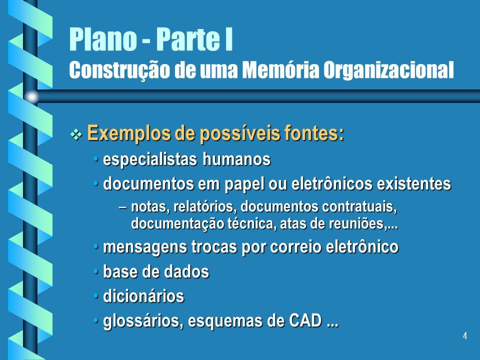 3 Plano - Parte I Construção de uma Memória Organizacional Primeira etapa: Primeira etapa: Consiste em fazer um inventário sobre o estado atual.