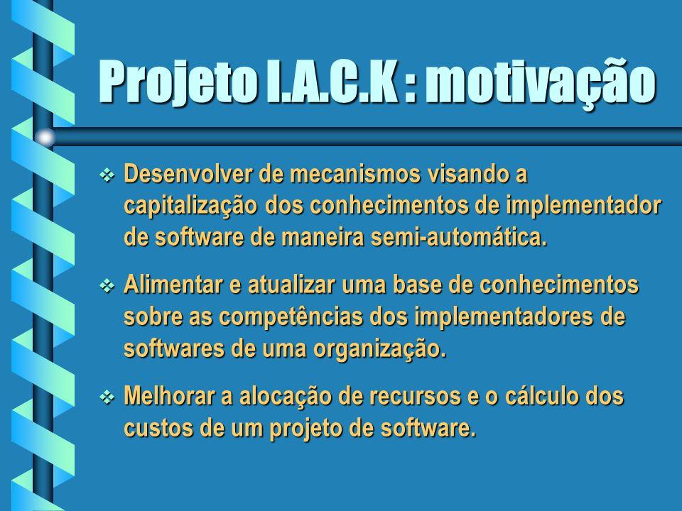 Projeto I.A.C.K Implementação de um agente de software para capitalizar os conhecimentos de um implementador de software.