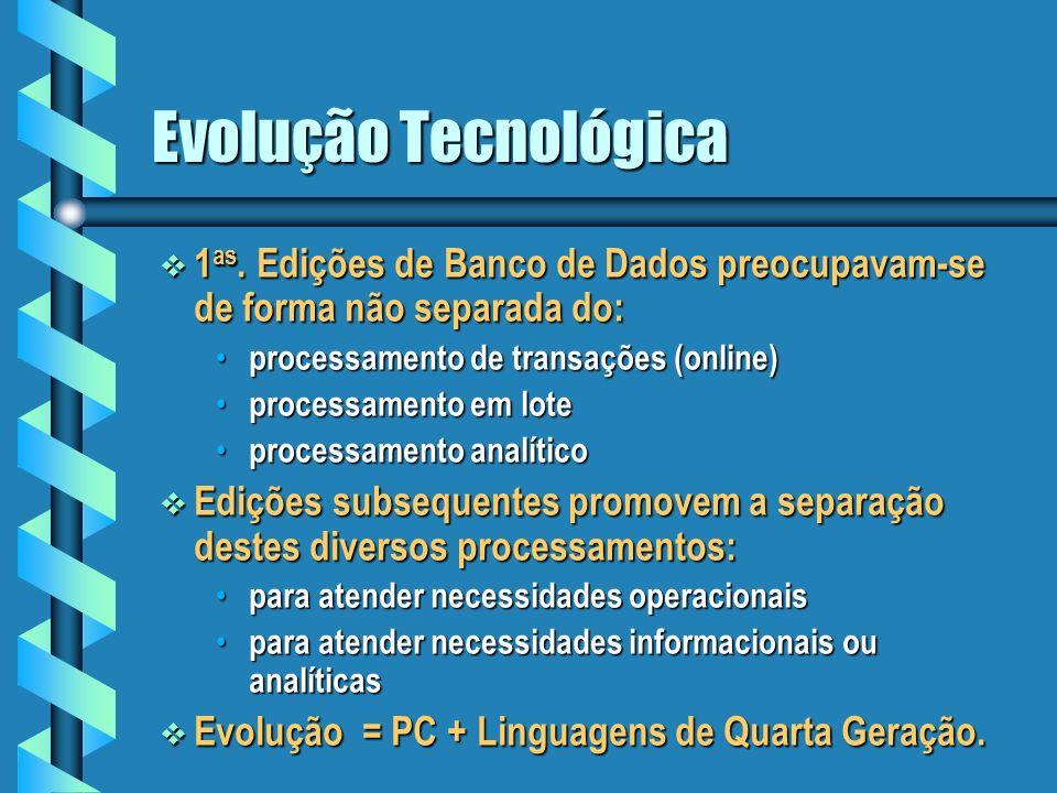 Tecnologias de implementação Objetivo Objetivo Fazer um sobrevôo as tecnologias: banco de dados relacional, armazém de dados (data warehouse), base de casos, agentes de software.