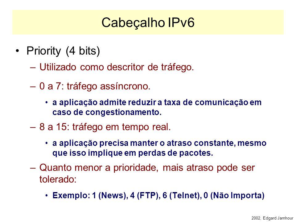 2002, Edgard Jamhour Cabeçalho IPv6 Version (4 bits) –Contém o número fixo 6. –Será utilizado pelos roteadores e demais hosts para determinar se eles