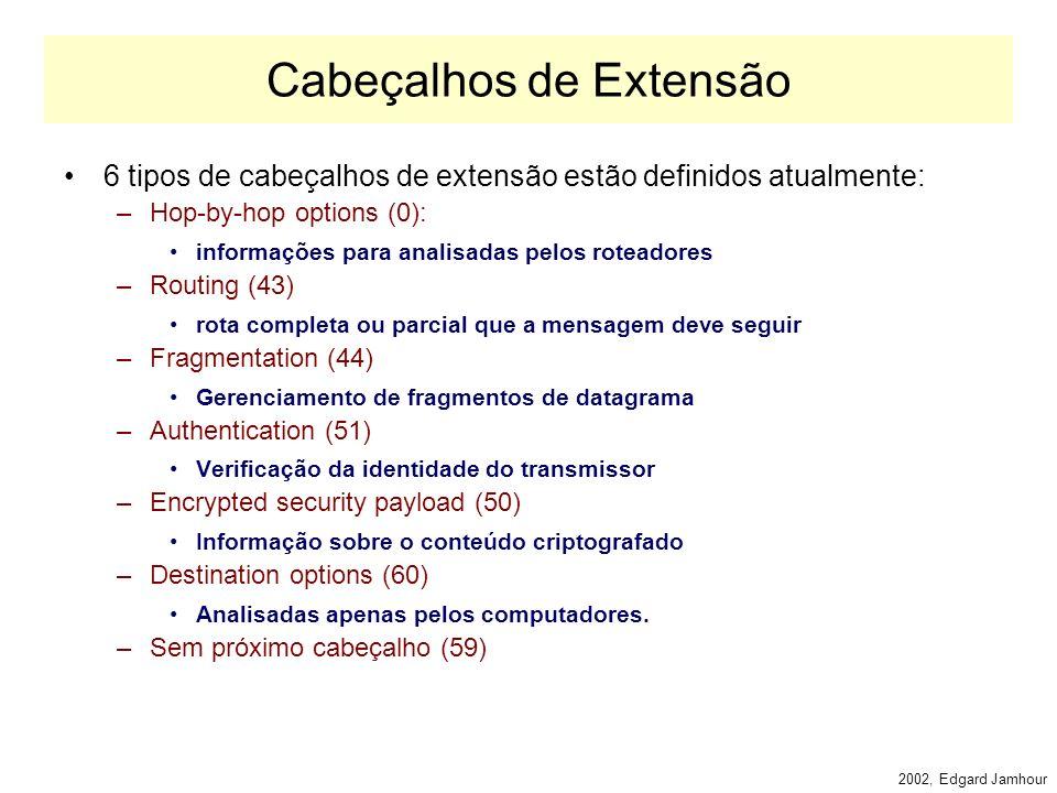 2002, Edgard Jamhour Cabeçalho IPv6 Payload Lenght (16 bits) –Indica quantos bytes seguem o cabeçalho fixo de 40 bytes. –O valor é zero no caso do jum