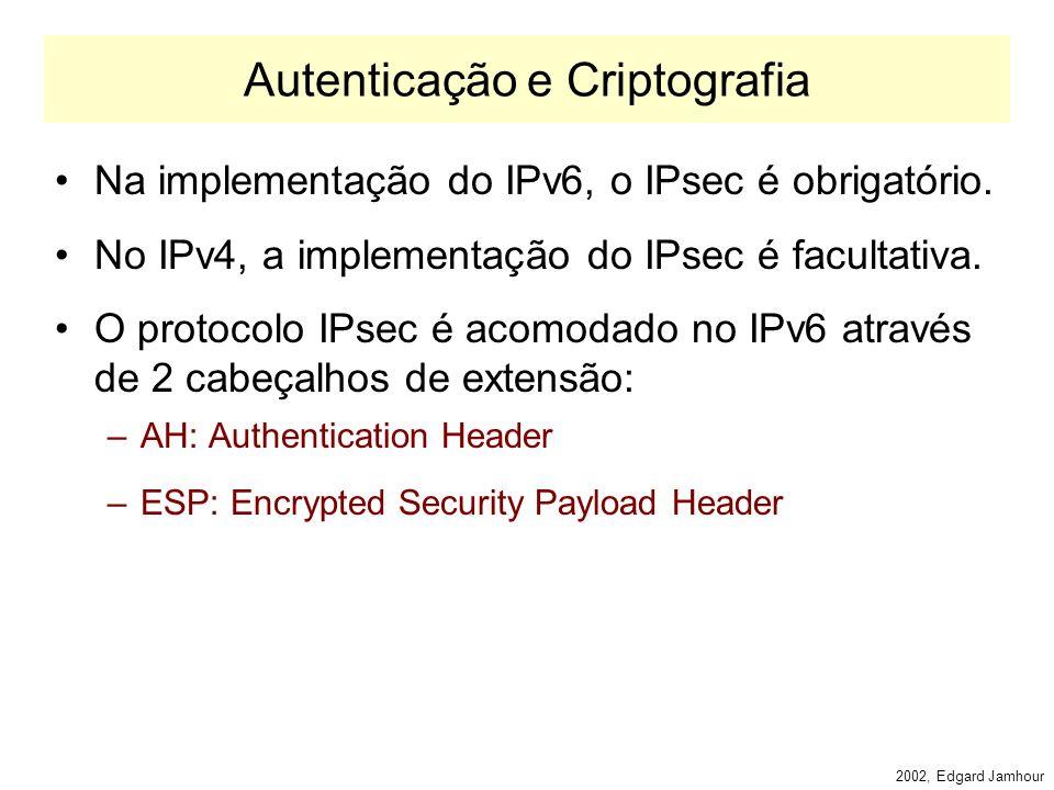 2002, Edgard Jamhour Fragmentation Header A fragmentação no IPv6 funciona de maneira similar ao IPv4. –Ao contrário do IPv4, o IPv6 só permite efetuar