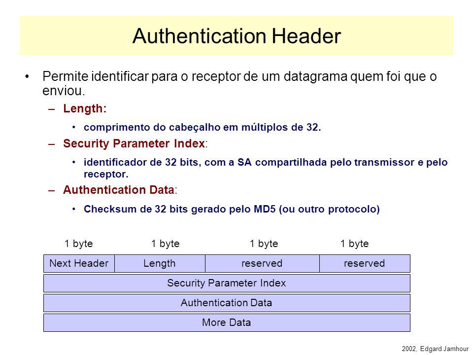 2002, Edgard Jamhour Autenticação e Criptografia Na implementação do IPv6, o IPsec é obrigatório. No IPv4, a implementação do IPsec é facultativa. O p