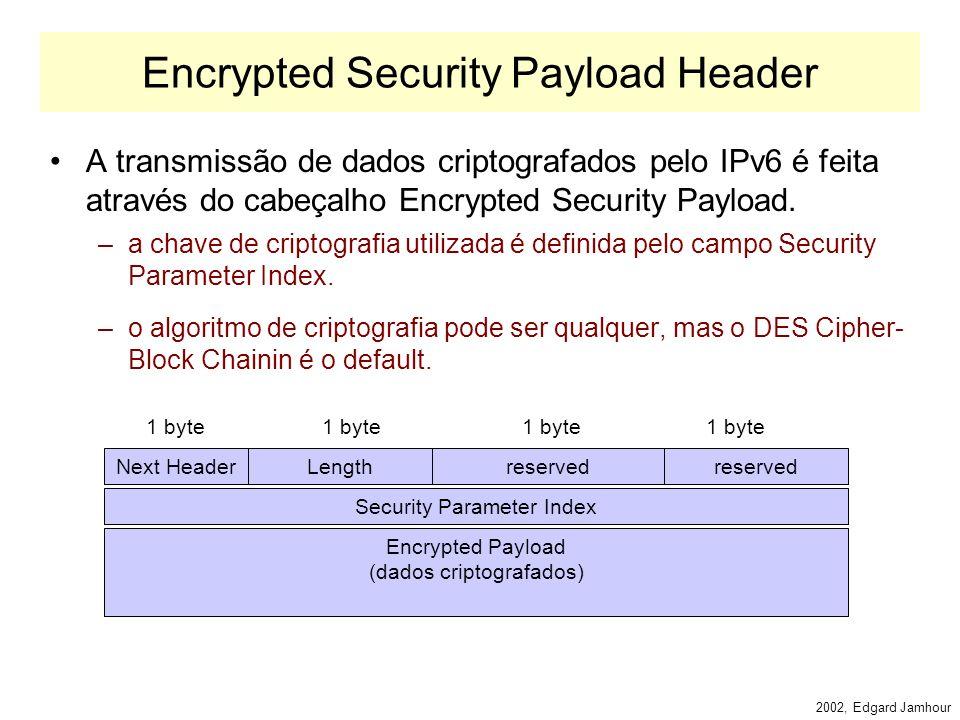 2002, Edgard Jamhour Authentication Header Permite identificar para o receptor de um datagrama quem foi que o enviou. –Length: comprimento do cabeçalh