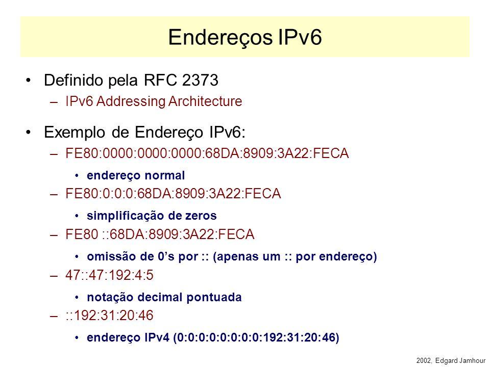 2002, Edgard Jamhour Encrypted Security Payload Header A transmissão de dados criptografados pelo IPv6 é feita através do cabeçalho Encrypted Security