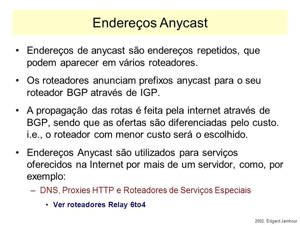 2002, Edgard Jamhour Categorias de Endereço unicast multicast NÂO anycast