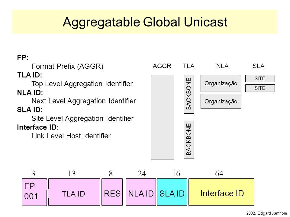 2002, Edgard Jamhour Aggregatable Global Unicast Especificado pela RFC 2374 Endereçamento com três níveis hierárquicos Topologia BackboneTopologia Empresa Interface Site Rede Organização Individual