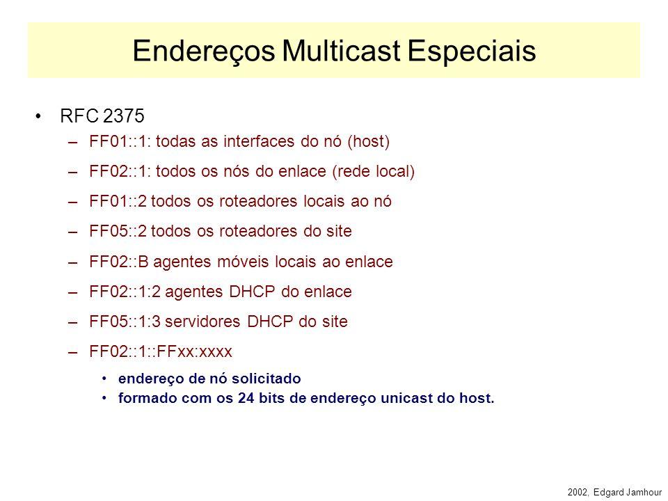 2002, Edgard Jamhour Endereços de Multicast IPv6 O formato de endereços Multicast IPv6: –PF: valor fixo (FF) –Flags: 0000 endereço de grupo dinâmico 1