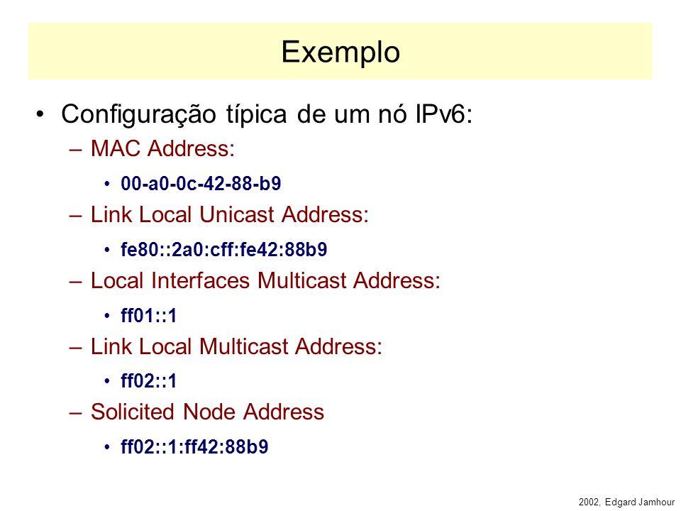 2002, Edgard Jamhour Endereços Multicast Especiais RFC 2375 –FF01::1: todas as interfaces do nó (host) –FF02::1: todos os nós do enlace (rede local) –FF01::2 todos os roteadores locais ao nó –FF05::2 todos os roteadores do site –FF02::B agentes móveis locais ao enlace –FF02::1:2 agentes DHCP do enlace –FF05::1:3 servidores DHCP do site –FF02::1::FFxx:xxxx endereço de nó solicitado formado com os 24 bits de endereço unicast do host.