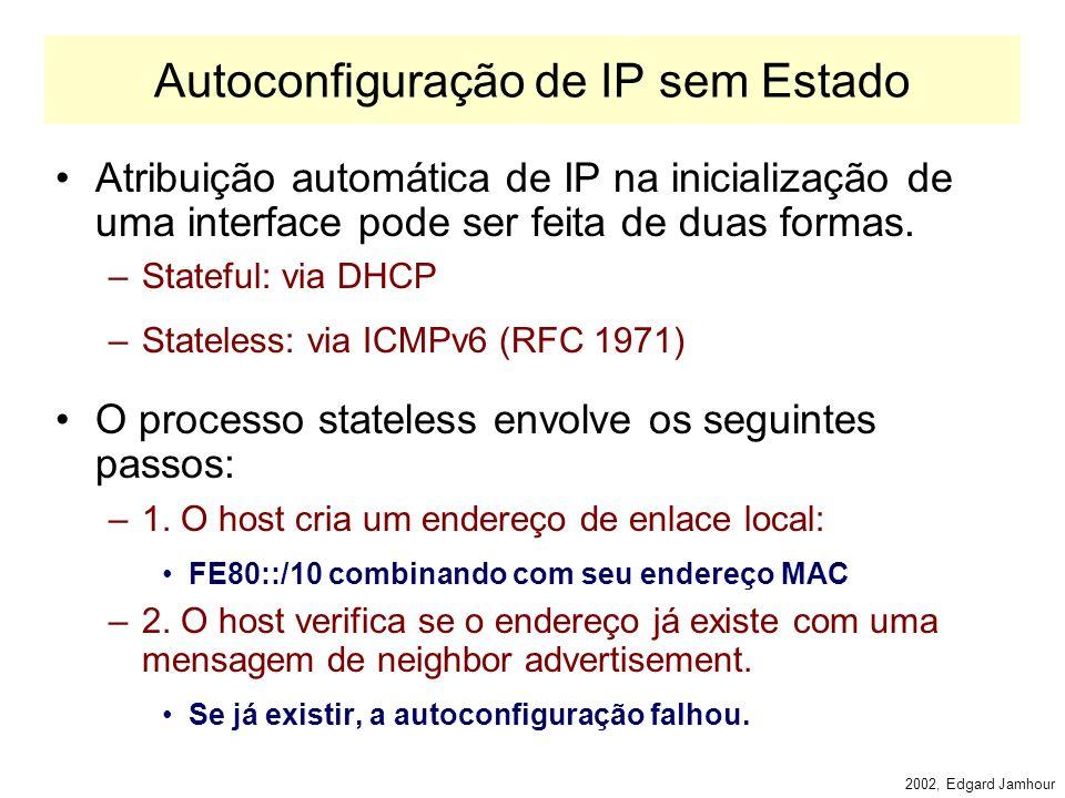 2002, Edgard Jamhour Redirecionamento Pelas mensagens de router advertisement um host pode aprender sobre a existência de mais de um roteador na rede.
