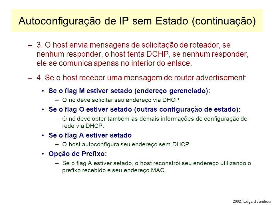 2002, Edgard Jamhour Autoconfiguração de IP sem Estado Atribuição automática de IP na inicialização de uma interface pode ser feita de duas formas. –S