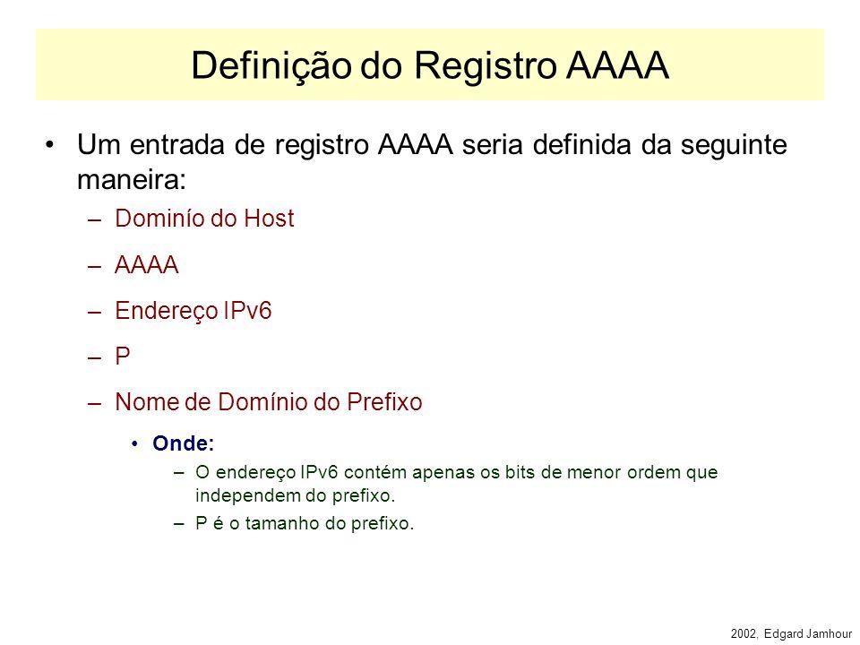 2002, Edgard Jamhour Mudança no Formato dos Registros O formato hierárquico de endereços IPv6 permite que uma organização troque de prefixo de público (TLA ou NLA) sem grandes alterações na rede.