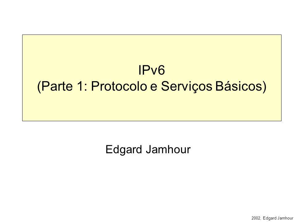 2002, Edgard Jamhour Características do IPv6 4.Classe de serviço para distinguir o tipo de dados.
