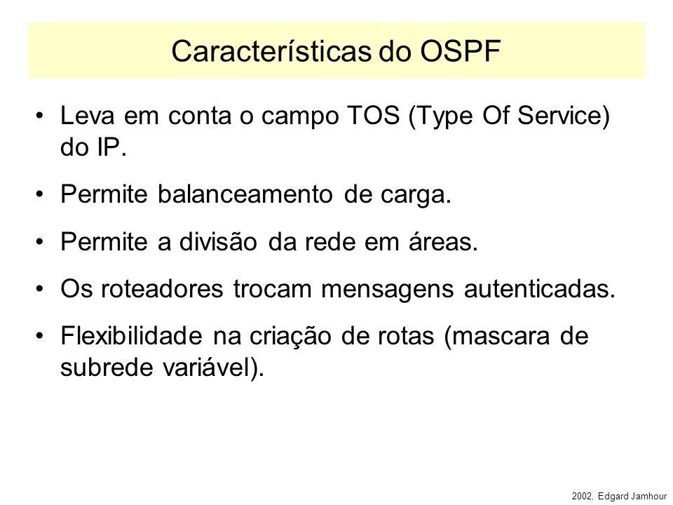 2002, Edgard Jamhour OSPF OSPF: Open Shortest Path First –Protocolo do tipo IGP –Específico para redes IP RIP funciona para outros protocolos, e.g.