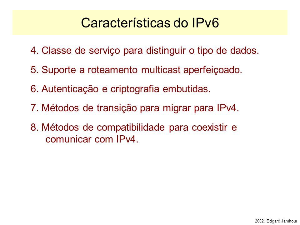 2002, Edgard Jamhour IPv6 IPv6: Internet Protocolo, versão 6.