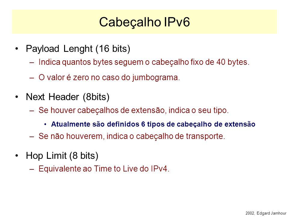 2002, Edgard Jamhour Controle de Fluxo Flow Label (24 bits) –Permite identificar 16 milhões de conexões entre 2 pares de IP.