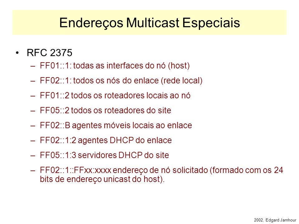 2002, Edgard Jamhour Endereços de Multicast IPv6 O formato de endereços Multicast IPv6: –PF: valor fixo (FF) –Flags: 0000 endereço de grupo dinâmico 1111 endereço de grupo permanente –Escopo: 1: nó local, 2: enlace local, 5: site local, 8: organização 14: global.