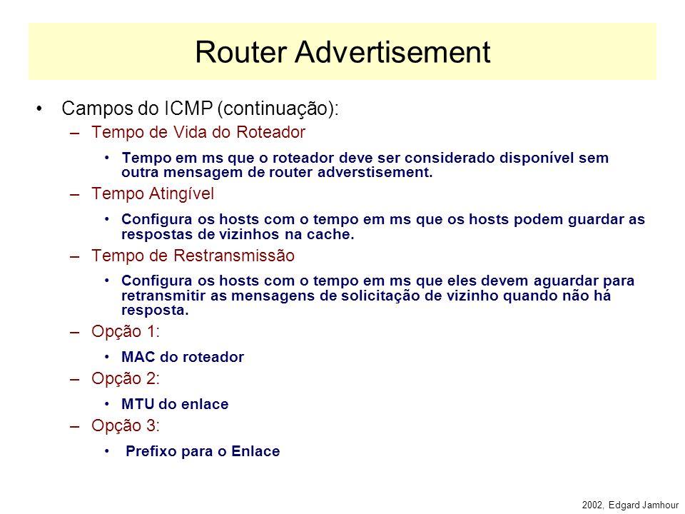 2002, Edgard Jamhour Router Advertisement Campos do IP: –Next Header: 58 (ICMP) –Saltos: 255 –Endereço de Destino: Multicast Especial (todos os nós do enlace): FF02:1 Campos do ICMP: –Tipo: 134 (router adverstisement) –Flags: M e O: Utilizados na configuração de endereços sem estado.