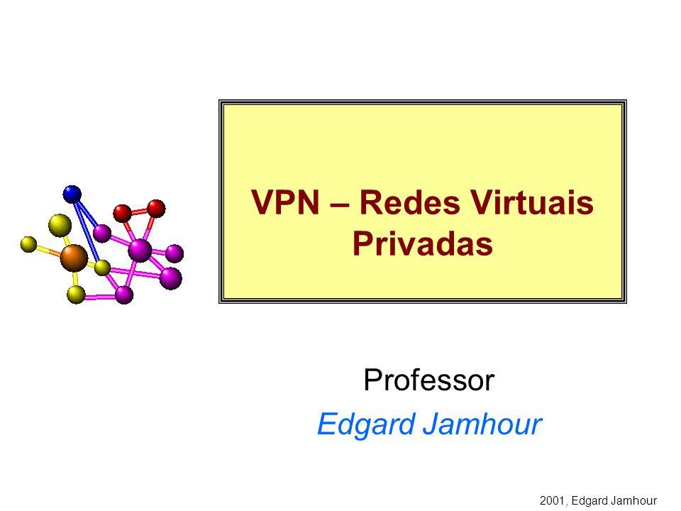 2001, Edgard Jamhour Autenticação por CHAP CHAP: Challeng HandShake Authentication Protocol –Definido pela RFC 1994 como uma extensão para PPP Não utiliza passwords em aberto Um password secreto, criado apenas para a sessão, é utilizado para o processo de autenticação.