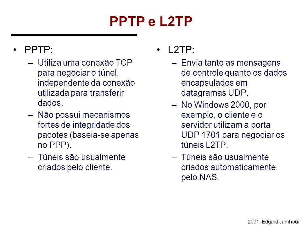 2001, Edgard Jamhour L2TP: Layer Two Tunneling Protocol Baseado nos Protocolos: –PPTP –L2F As mensagens do protocolo L2TP são de dois tipos: –Mensagen