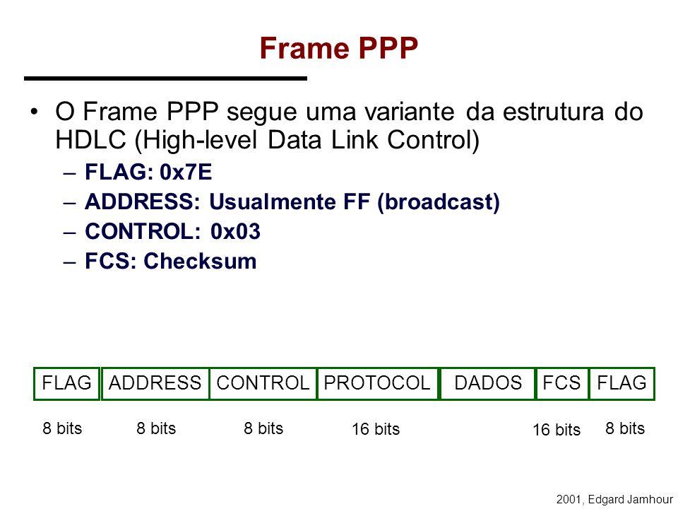 2001, Edgard Jamhour Frame PPP O Frame PPP segue uma variante da estrutura do HDLC (High-level Data Link Control) –FLAG: 0x7E –ADDRESS: Usualmente FF (broadcast) –CONTROL: 0x03 –FCS: Checksum FLAGADDRESSCONTROLPROTOCOLFCSFLAG 8 bits 16 bits 8 bits DADOS
