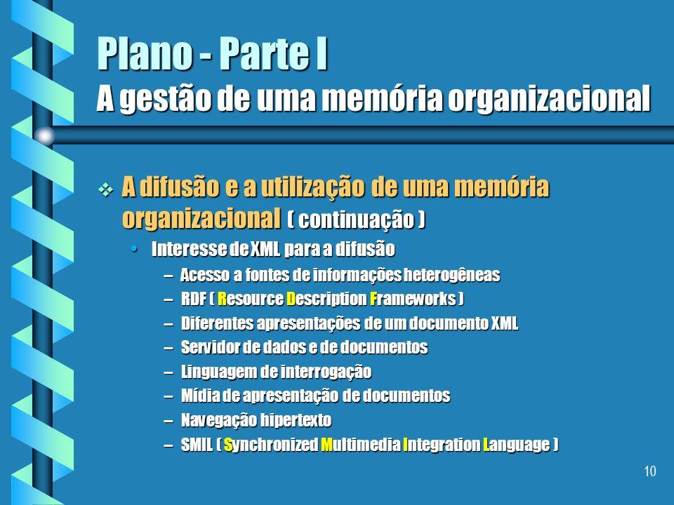 9 Plano - Parte I A gestão de uma memória organizacional A difusão e a utilização de uma memória organizacional ( continuação ) A difusão e a utilizaç