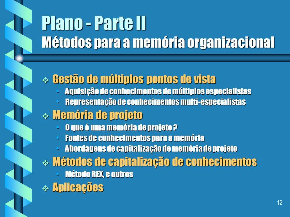 11 Plano - Parte I A gestão de uma memória organizacional Avaliação e evolução da memória organizacional Avaliação e evolução da memória organizaciona