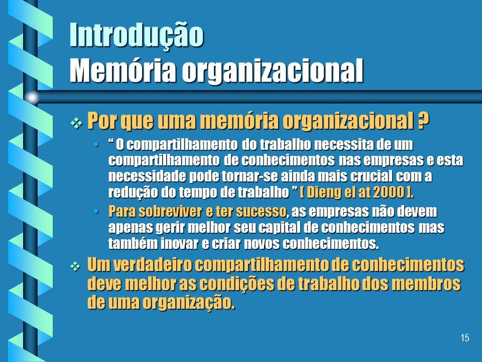 14 Segundo objetivo da aula Introduzir os objetivos, conceitos e modelos ligados a memória organizacional Introduzir os objetivos, conceitos e modelos