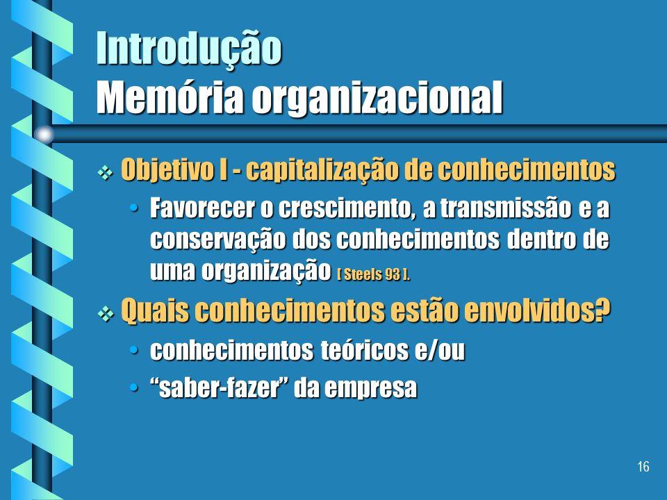 15 Introdução Memória organizacional Por que uma memória organizacional ? Por que uma memória organizacional ? O compartilhamento do trabalho necessit
