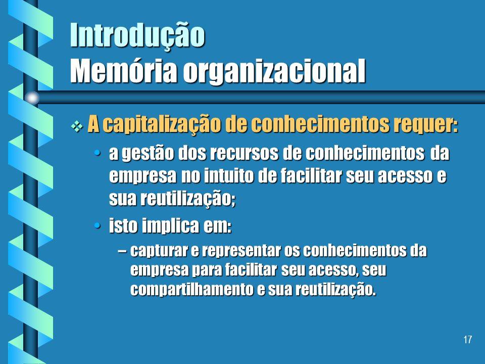 16 Introdução Memória organizacional Objetivo I - capitalização de conhecimentos Objetivo I - capitalização de conhecimentos Favorecer o crescimento,