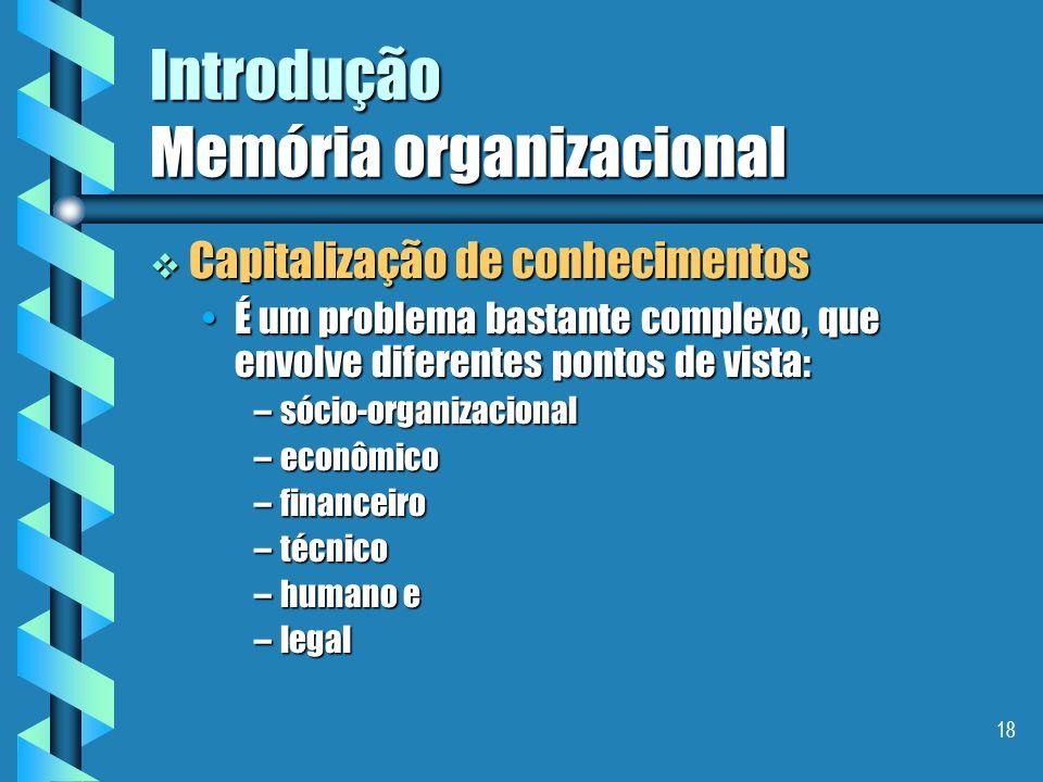 17 Introdução Memória organizacional A capitalização de conhecimentos requer: A capitalização de conhecimentos requer: a gestão dos recursos de conhec