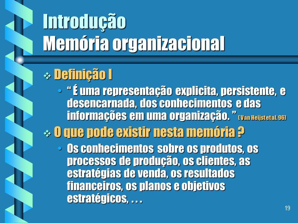 18 Introdução Memória organizacional Capitalização de conhecimentos Capitalização de conhecimentos É um problema bastante complexo, que envolve difere