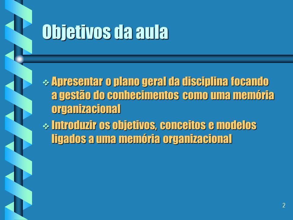 2 Objetivos da aula Apresentar o plano geral da disciplina focando a gestão do conhecimentos como uma memória organizacional Apresentar o plano geral da disciplina focando a gestão do conhecimentos como uma memória organizacional Introduzir os objetivos, conceitos e modelos ligados a uma memória organizacional Introduzir os objetivos, conceitos e modelos ligados a uma memória organizacional