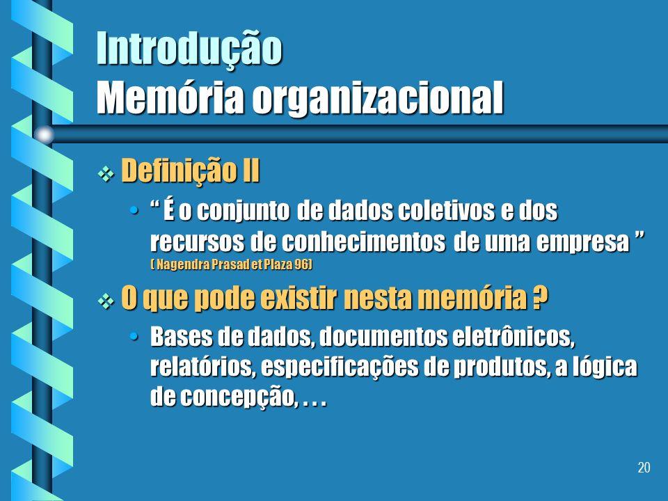 19 Introdução Memória organizacional Definição I Definição I É uma representação explicita, persistente, e desencarnada, dos conhecimentos e das infor