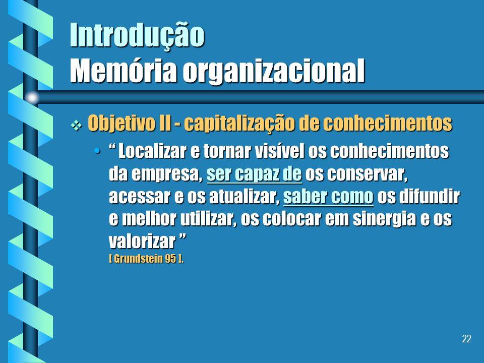 21 Introdução Memória organizacional Sobre qual princípio repousa a construção de uma memória organizacional ? Sobre qual princípio repousa a construç