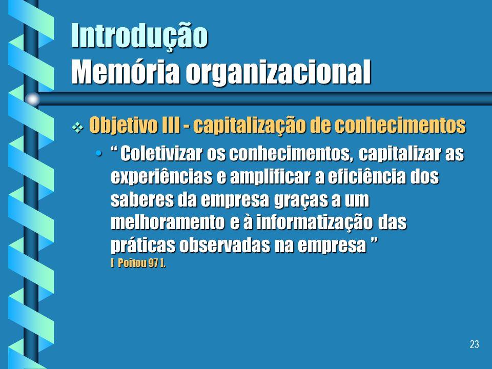 22 Introdução Memória organizacional Objetivo II - capitalização de conhecimentos Objetivo II - capitalização de conhecimentos Localizar e tornar visí