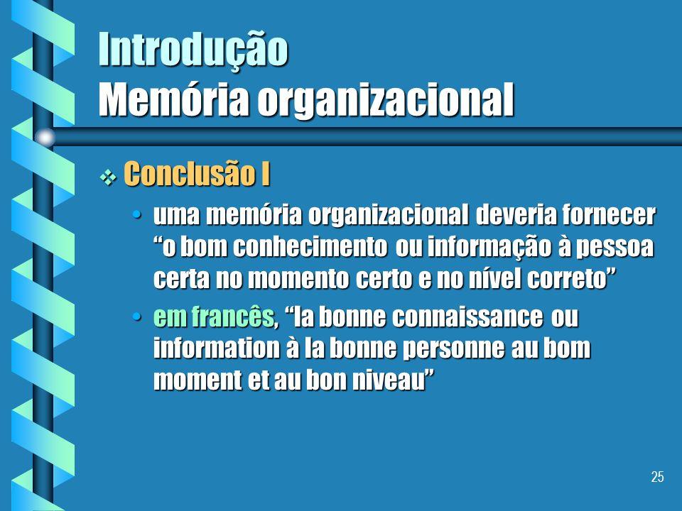24 Introdução Memória organizacional Tipos de conhecimentos em uma empresa Tipos de conhecimentos em uma empresa explícitosexplícitos tácitostácitos P