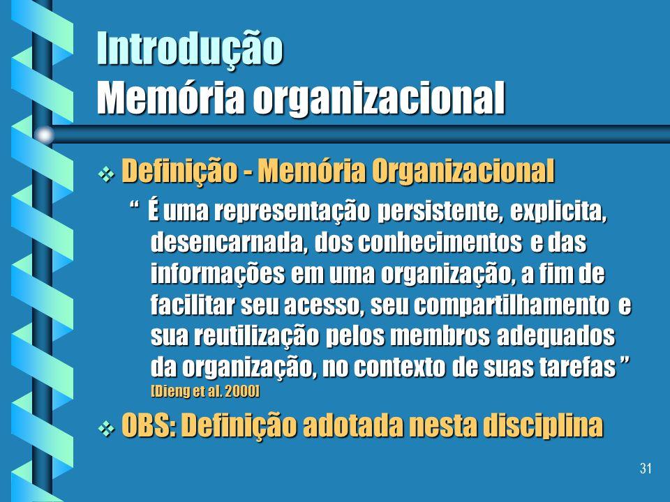 30 Introdução Memória organizacional As setes etapas da cadeia de valorização dos conhecimentos são: As setes etapas da cadeia de valorização dos conh
